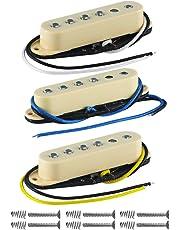 FLEOR Vintage sola bobina Guitarra Pastillas Alnico 5Cable de placa Bobina de forma escalonada Pole Piezas guitarra Pickup para Guitarra Eléctrica de repuesto