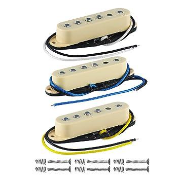 FLEOR Vintage sola bobina Guitarra Pastillas Alnico 5 Cable de placa Bobina de forma escalonada Pole