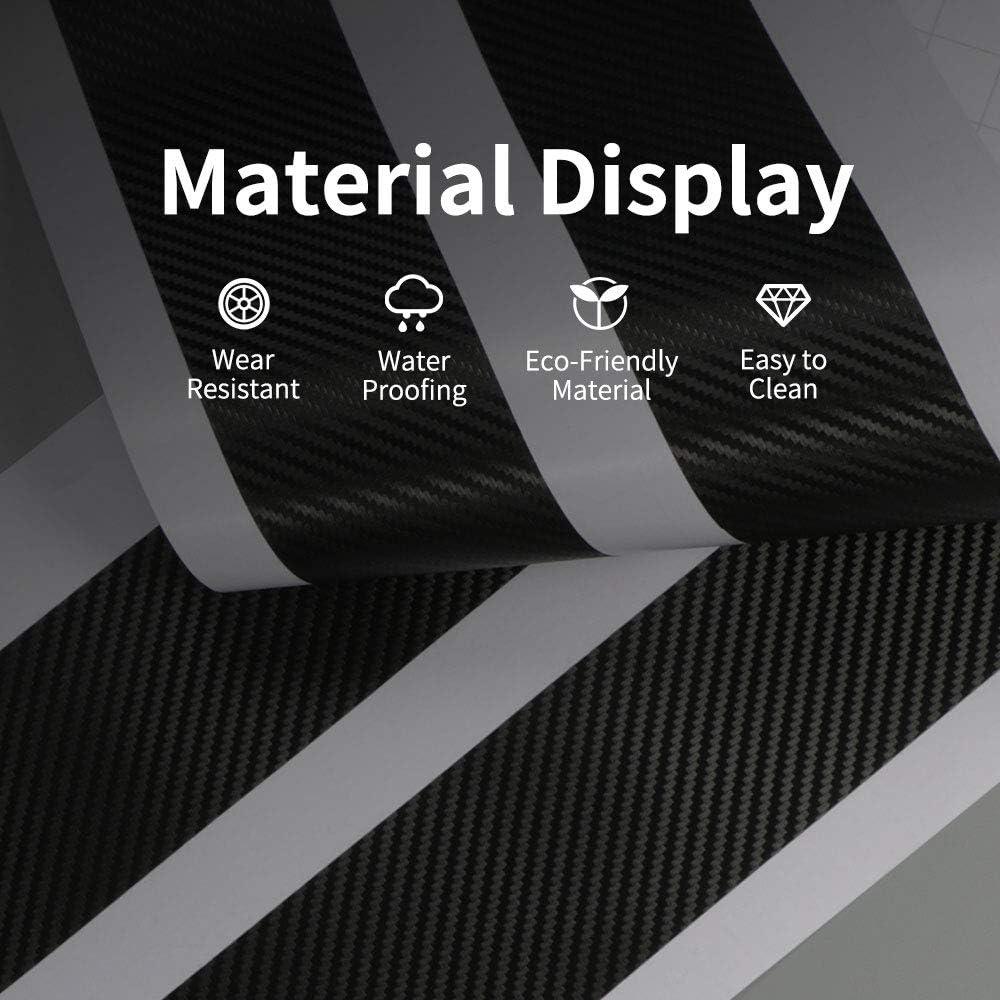Grtodnz 4PCS Car Door Sill Protector Strips For BMW MINI Cooper One S R50 R53 R56 R60 F55 F56,Carbon Fiber Sill Guard Sticker Black Anti Scratch Car Door Sill Decoration Scuff Plate
