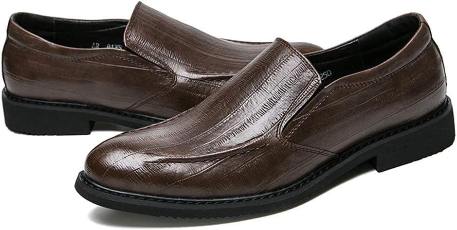 M YJiaJu Mens Business Oxford Casual Comfortable Low Top Simple Pure Color Slip On Formal Shoes for Men Color : Black, Size : 8.5 D US