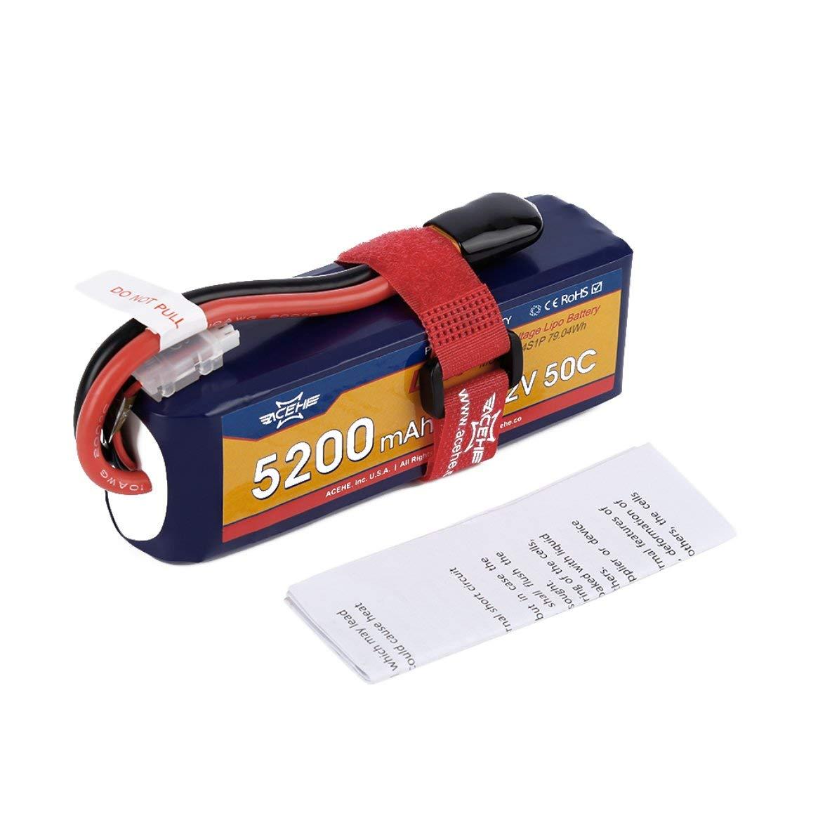 ACEHE 15.2V 5200mAh 50C 4S1P 79.04Wh Batería Lipo de Alto Voltaje con Enchufe XT60
