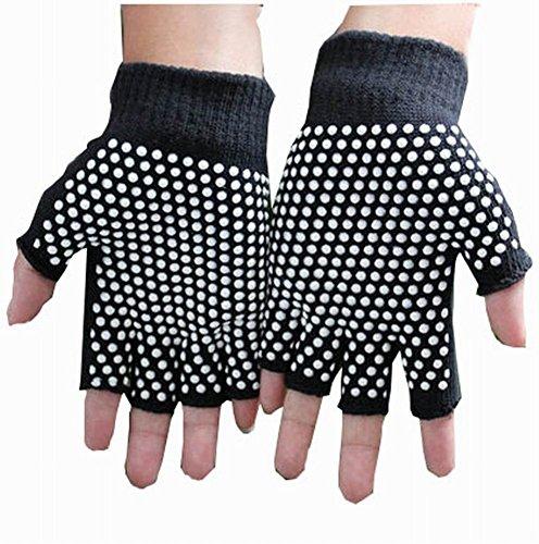 女性のヨガの手袋実用的なノンスリップの漫画の手袋、黒