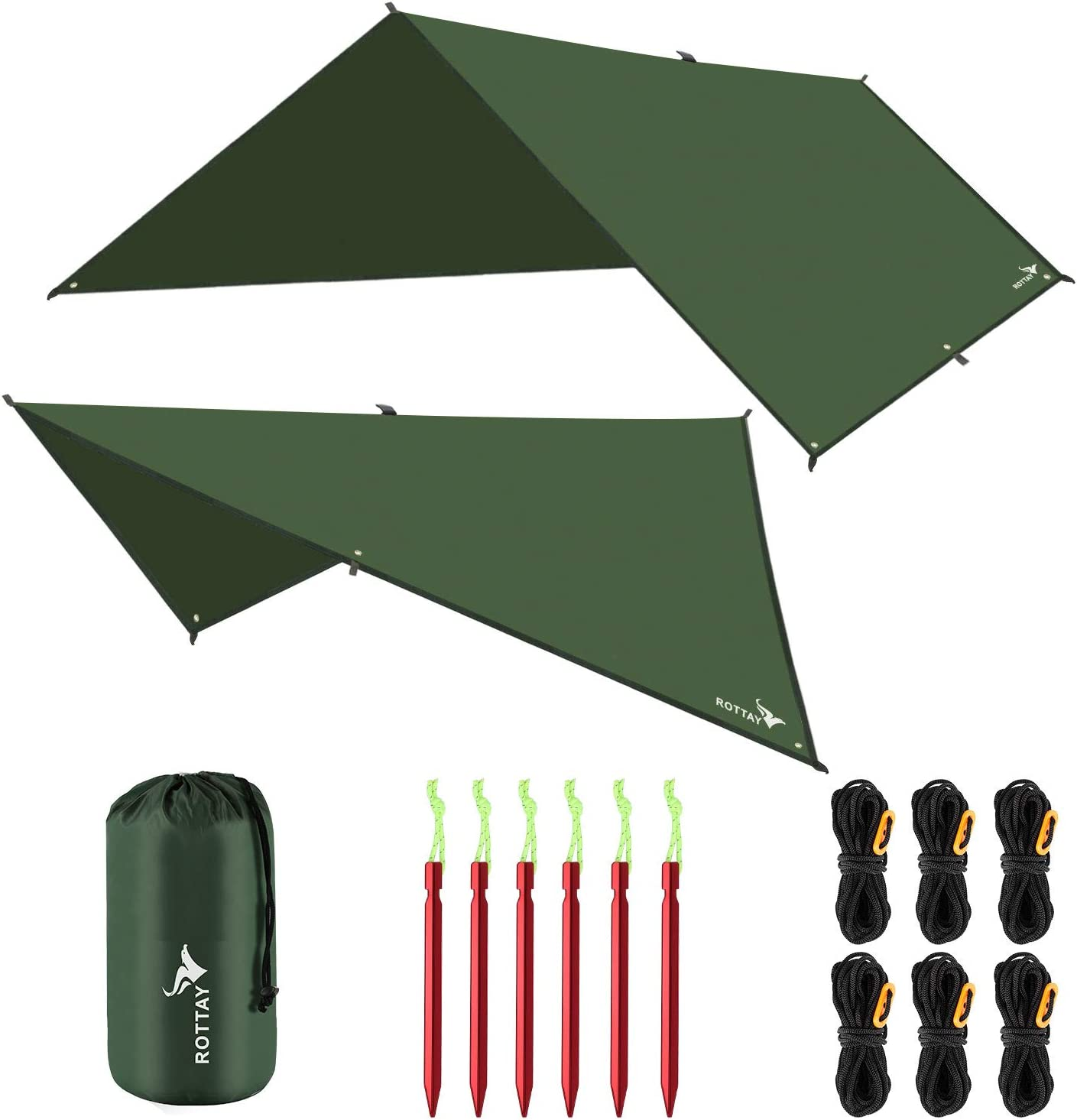 Hiking Multiple Colors and Size Survival Gear Sunshade Multifunctional Tent Footprint for Camping Lightweight and Backpacking Approved Rottay Waterproof Camping Tarp
