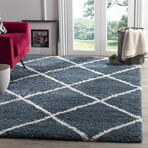 Slate Blue Rectangular Rug - Safavieh Hudson Shag Collection SGH281L Slate Moroccan Diamond Trellis Area Rug (4' x 6')