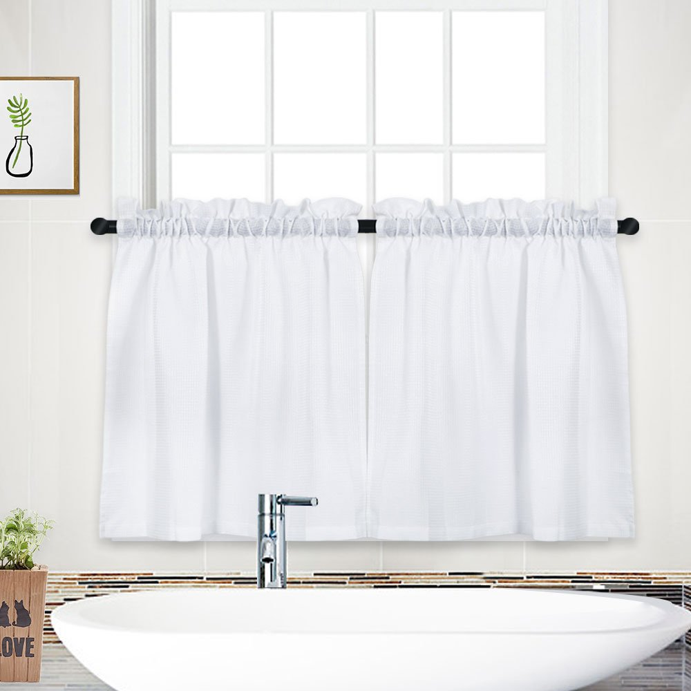 NANAN Tier Curtains,Waffle Weave Textured Tailored Short Curtains for Bathroom Water Repellent Window Covering Kitchen Cafe Curtains - 30'' x 24'', White, Set of 2