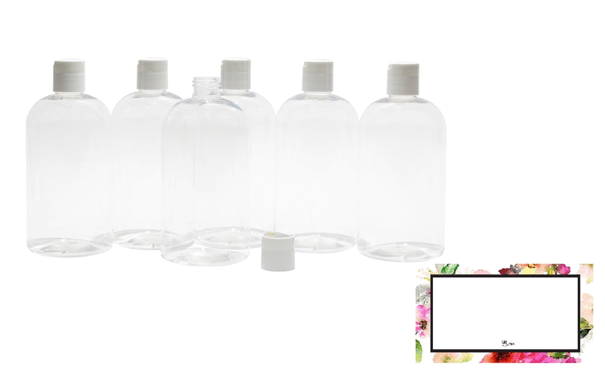 BAIRE BOTTLES - 4 oz CLEAR PLASTIC REFILLABLE BOTTLES with WHITE HAND-PRESS FLIP DISC CAPS - For TRAVEL OR GIFTING Soap, Shampoo or Lotion - PET, BPA Free, Lightweight, 6 Pack, BONUS 6 FLORAL LABELS