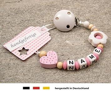 Herz Schnullerkette mit Namen kleines Wunder weiß Baby Mädchen pink