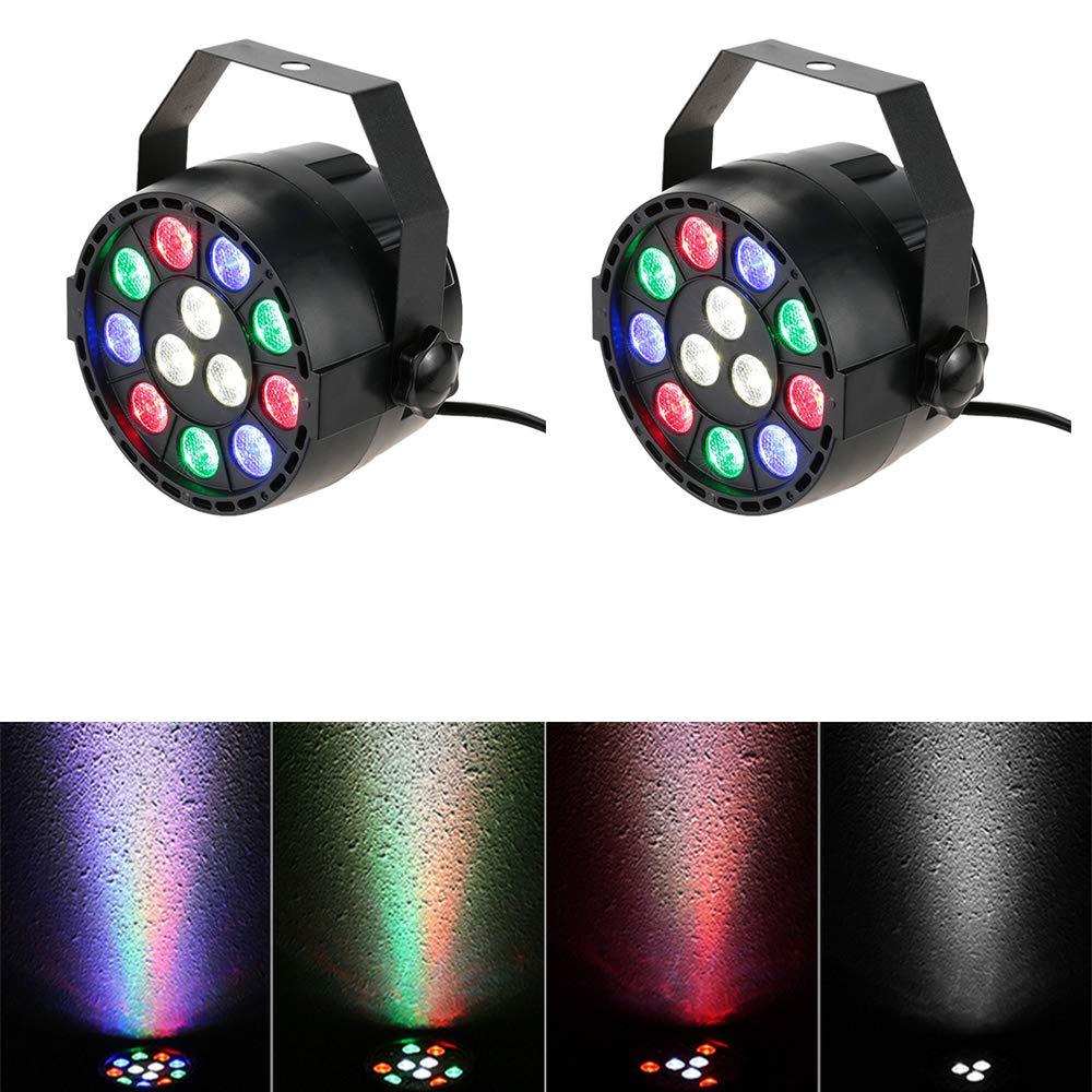4 Pack 12 LED RGBW Par Light DMX512 Control Stage Light Sound Activated Wash Light Up Lighting DJ Stage Lighting Effect Lamp for Festival Dance Floor Disco Bar Club Concert Karaoke Show Home