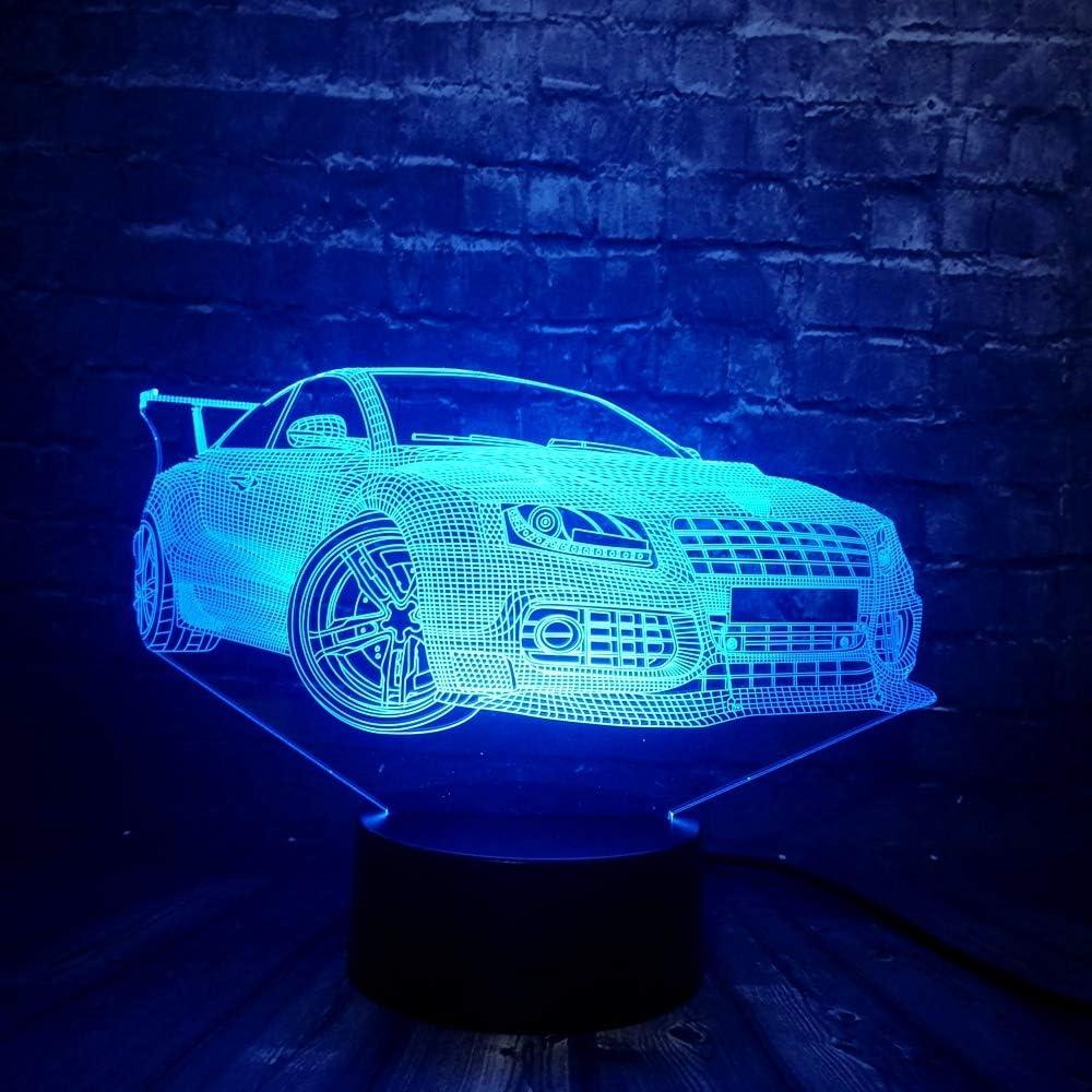 KangYD Super Sports Car 3D Night Light/LED Lámpara de noche/Decoración del hogar/Novedad/Acrílico/A - Toque 7 Color (Base negra): Amazon.es: Iluminación
