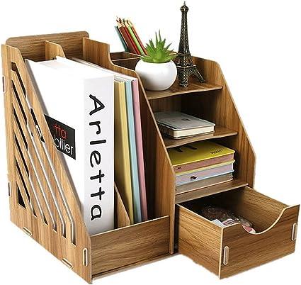 Organizador de escritorio de madera, organizador de mesa, caja de almacenamiento, sistema de almacenamiento para el escritorio: Amazon.es: Oficina y papelería
