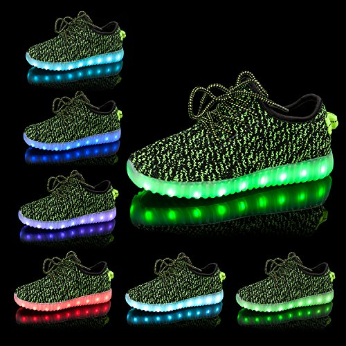 Shinmax Light Up Shoes, Sneakers Led Shoes Traspiranti 7 Colori Light Shoes Per Uomo E Donna, Kid Shoes Green Mesh