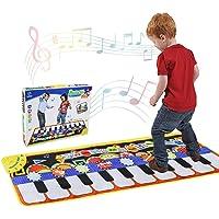Tencoz Musical Piano Mat 19 Keys Piano Keyboard Play Mat Portable Musical Blanket Build-in Speaker & Recording Function for Kids Toddler Girls Boys