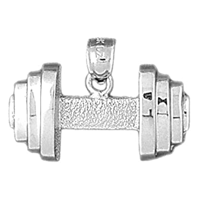 Sterling Silver 925 Dumbell Pendant Jewels Obsession Dumbell Pendant 16 mm