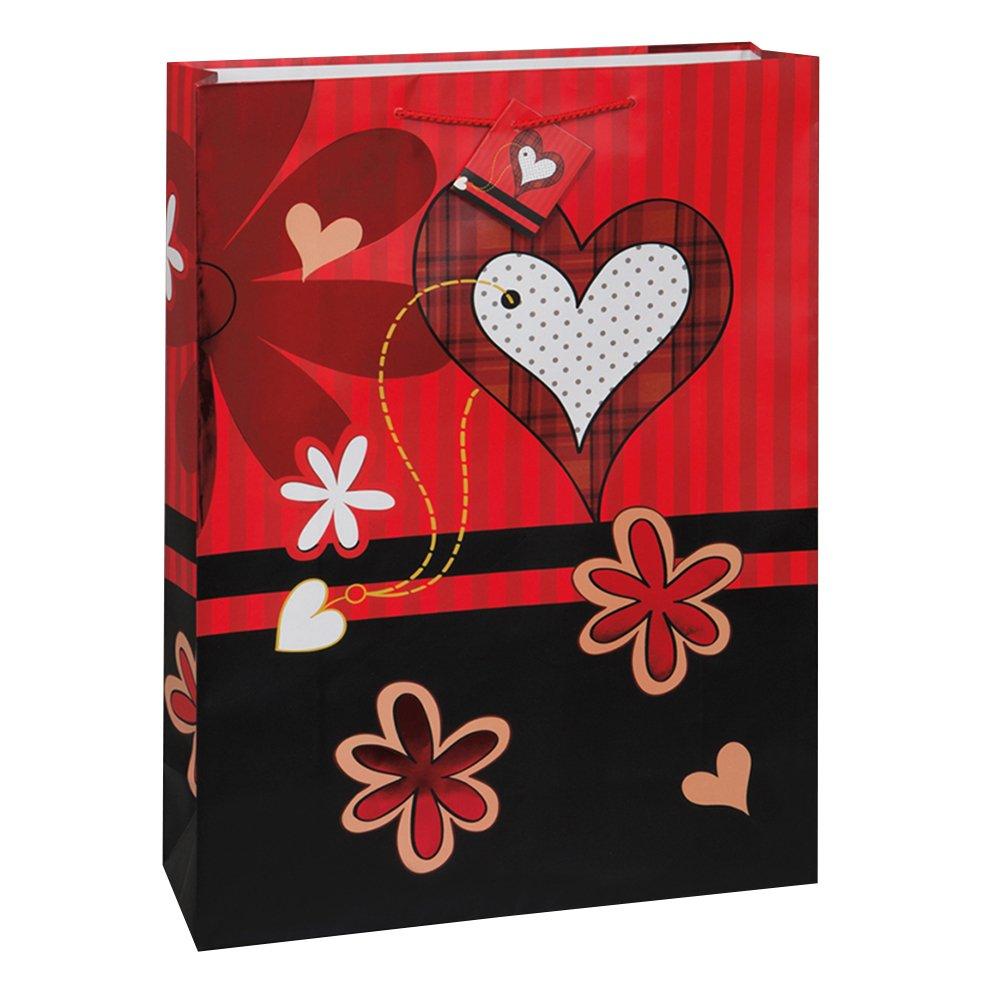 Amazon.com: Large Glitter Heart Valentine's Day Gift Bag: Kitchen ...