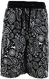 ChoiceApparel Mens Paisley Bandana Shorts (S-3XL) (L, 1427-Black)