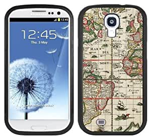 Antique Shipping Map Handmade Samsung Galaxy S4 Black Bumper Hard Plastic Case