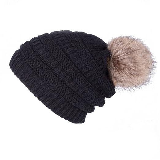 d1b59a80cbebb Dikoaina Womens Winter Slouchy Knit Beanie Chunky Faux Fur Pom Poms Hat  Bobble Hat Ski Cap