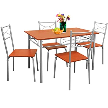Dining Table Set Of Furniture Set Paul Pcs Chestnut Color - 5 seater dining table