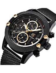 BENYAR Men Watch 5109M Quartz Chronograph Waterproof Watches Business Casual Sport Mesh Band Watch(Black&Gold)