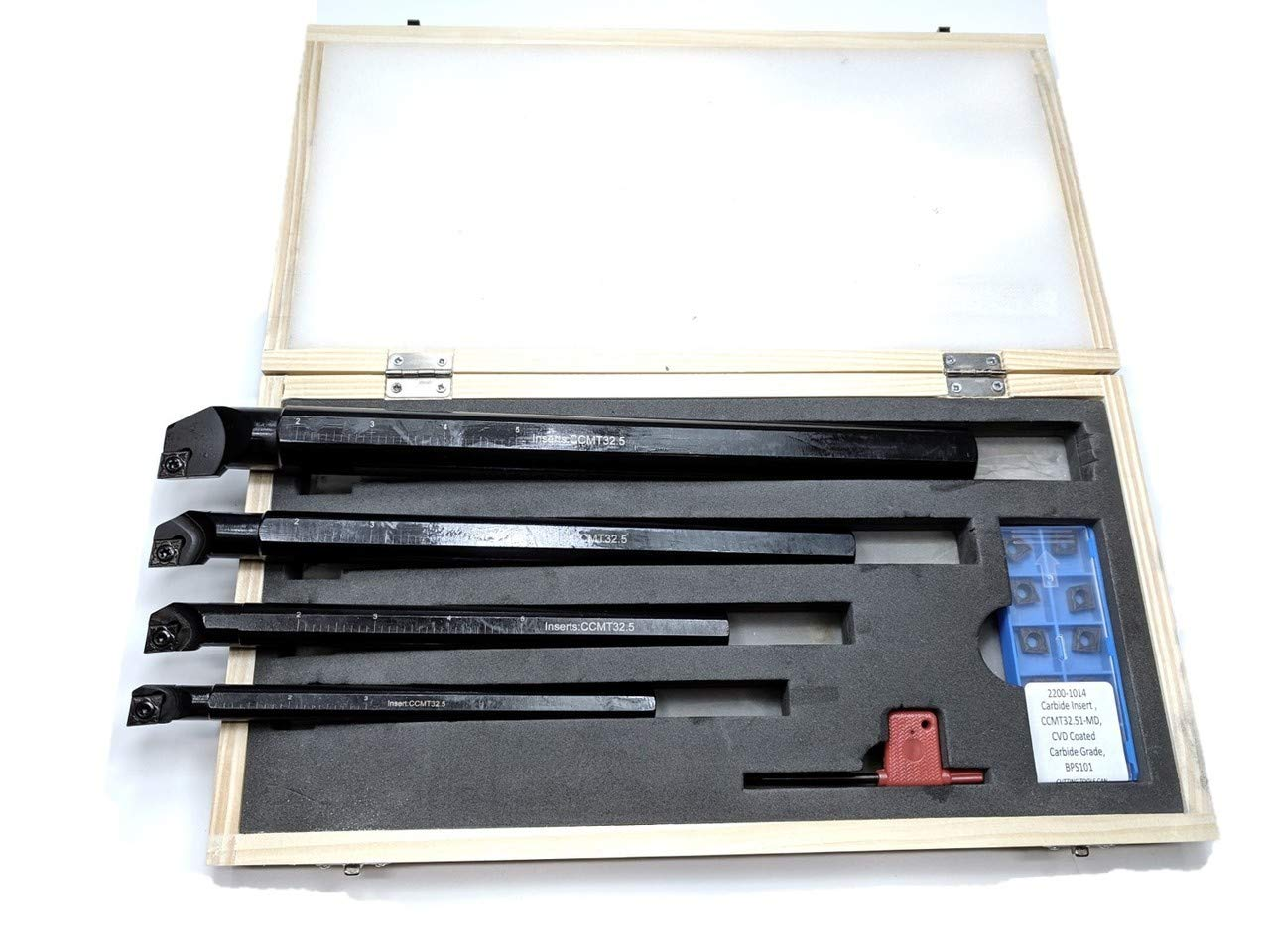 SCLCR 4 Pc Indexable Boring Bar Set with 14 Carbide CVD Coating CCMT32.51 Inserts 1//2 AccusizeTools P252-S416 1 3//4 5//8