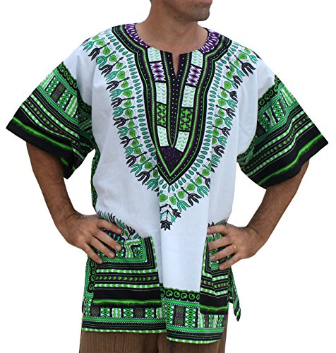 RaanPahMuang Brand Unisex Bright African White Dashiki Cotton Shirt