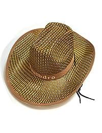 YEKEYI Unisex Woven Straw Round up Cowboy Hat Summer Wide Brim Beach Cap Straw Hat