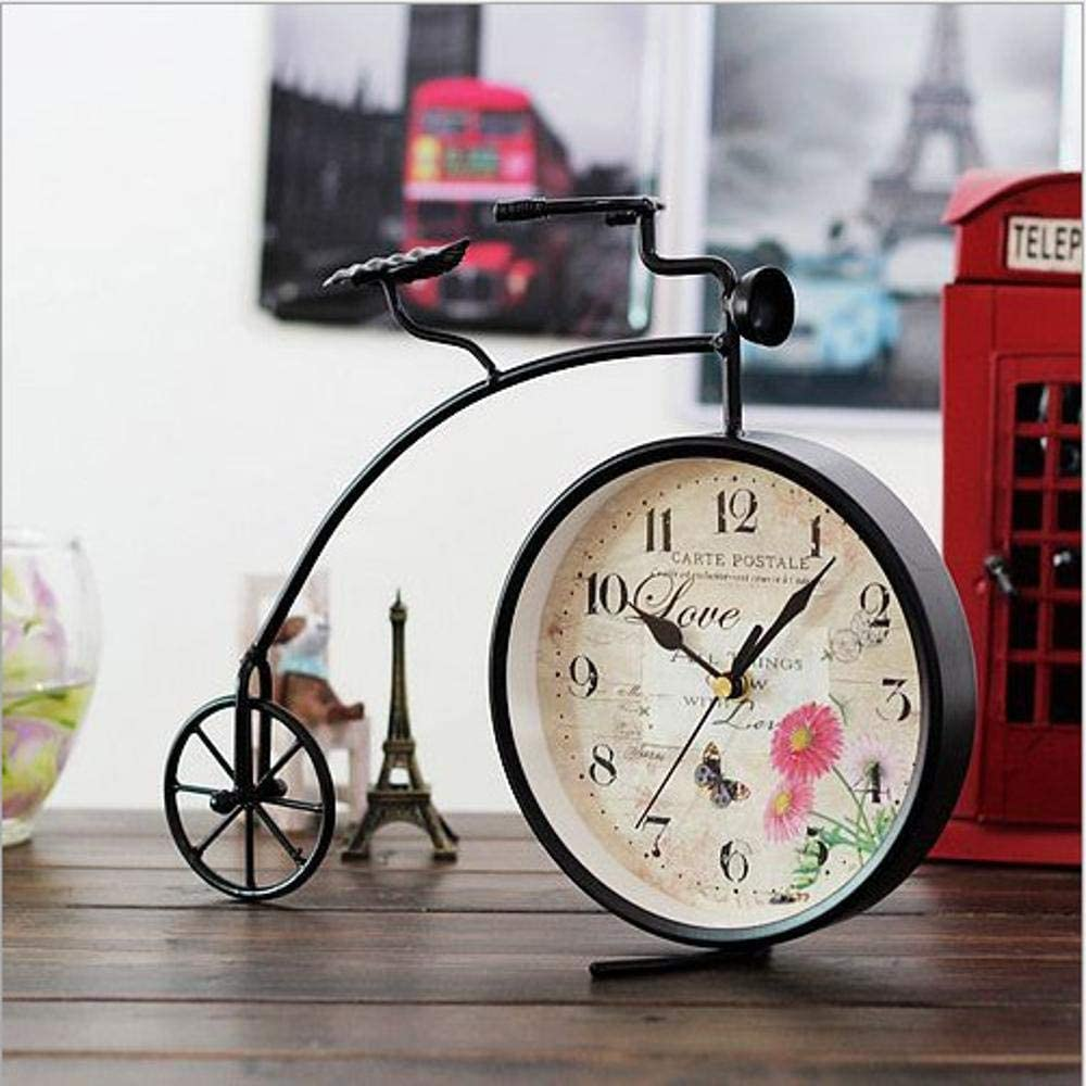 Olydmsky Reloj Antiguo de Mesa,Creativa Hierro Reloj Dormitorio Living Comedor lo Hizo el Viejo Reloj Decoraciones Adornos 31. 5 * 8 * 25 cm