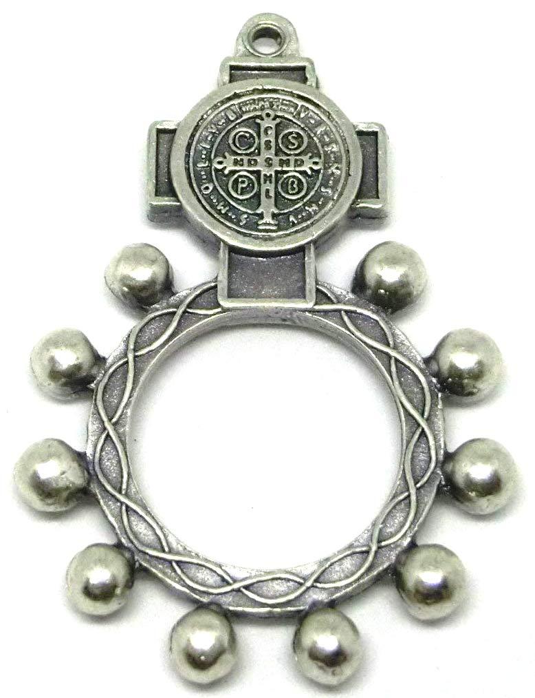 90.124.30 001CRO rosario da dito croce medaglia di san benedetto argento