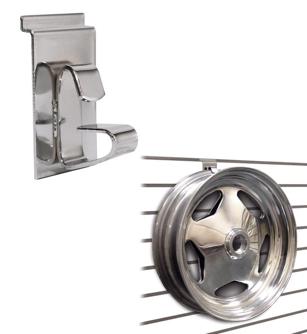 Slatwall Wheel Holder/Wheel & Rim Display Hook for Slatwall Panels - Chrome - 10 Pack