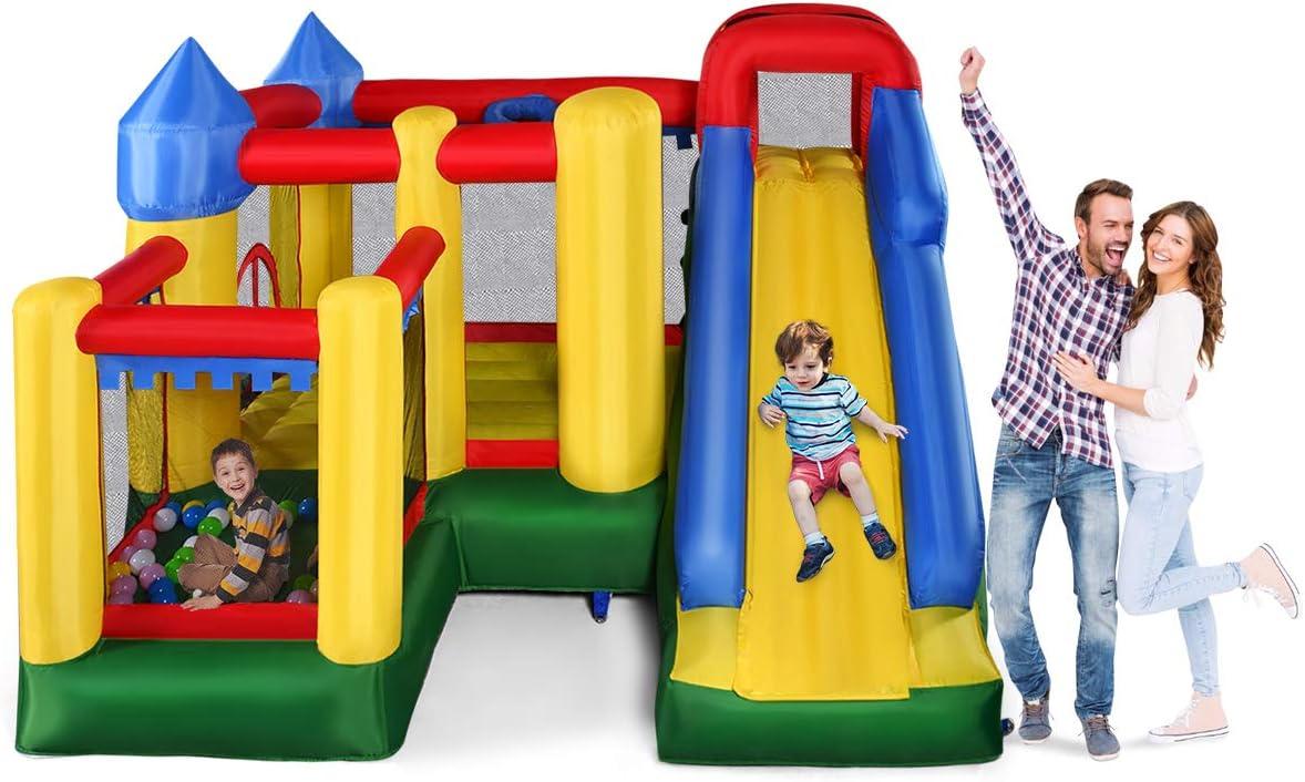 COSTWAY Castillo Hinchable con Tobogán para Niños 305x305x213 cm Castillo Inflable para Parque Patio Jardín Sin Soplador