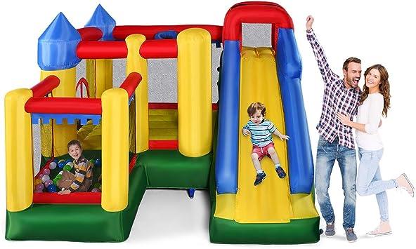 COSTWAY Castillo Hinchable con Tobogán para Niños 305x305x213 cm Castillo Inflable para Parque Patio Jardín Sin Soplador: Amazon.es: Juguetes y juegos