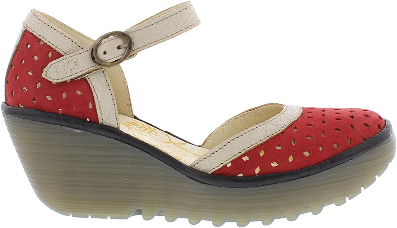 Womens Fly London Yven Cupido Mousse Ankle Strap Leather Wedge Heel Shoe