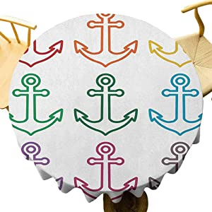 """DRAGON VINES Tablecloth Anchor Tablecloth Bulk,Colorful Set of Outline Anchors Sailing Cruise Travel Boat Ship Vessel Graphic Naval Diameter 43"""""""