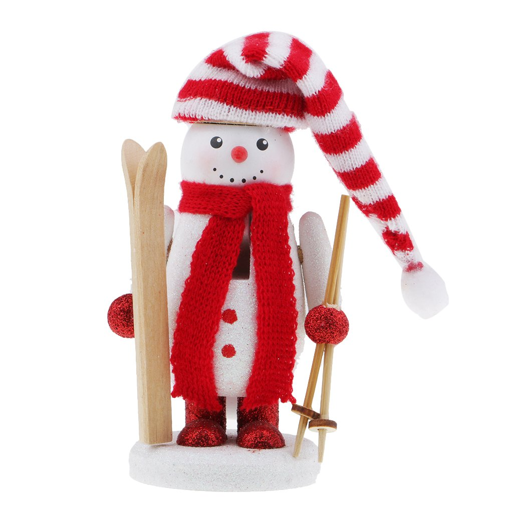 Flameer Christmas Nutcrackers Wooden Snowman Puppets Ornament Christmas Nutcracker Gift Snowman Head Top