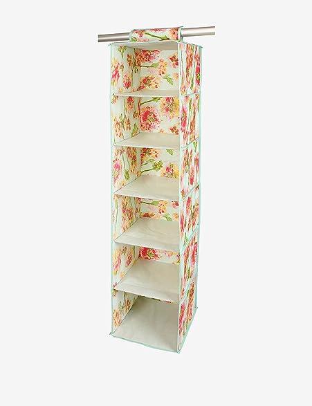 Isaac Mizrahi Ikat Floral 6 Shelf Closet Sweater Organizer