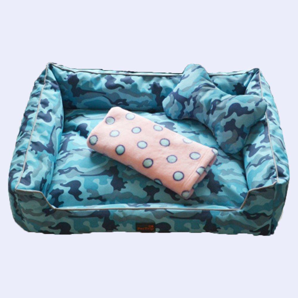 DSAQAO Washable deluxe square pet dog bed, Pet supplies Pet basket Pet bolster bed Pet nest-B Large