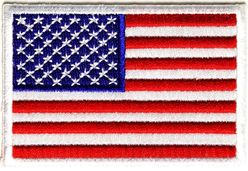 Embroidered Iron On Patch - USA Patriotic American Flag White Border 3