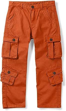 Phorecys Pantalón cargo para niños, de algodón, con botón con cremallera y 8 bolsillos