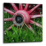 paint your wagon red - 3dRose Danita Delimont - Western - USA, Alaska, Chena Hot Springs. Vintage wagon wheel and grass. - 15x15 Wall Clock (dpp_278348_3)