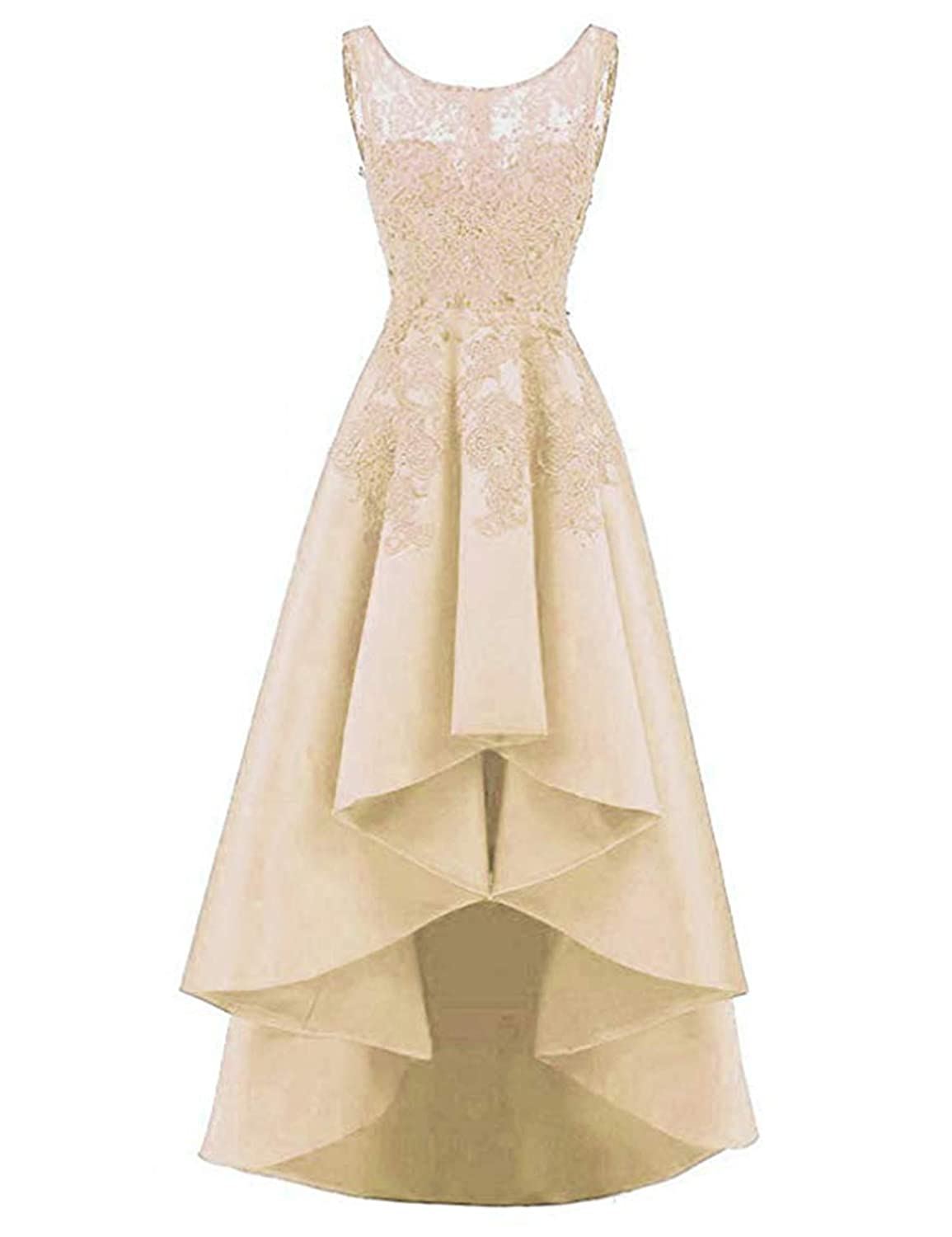 Champagne QiJunGe Women's High Low Prom Dress Lace Satin A Line Evening Formal Gowns