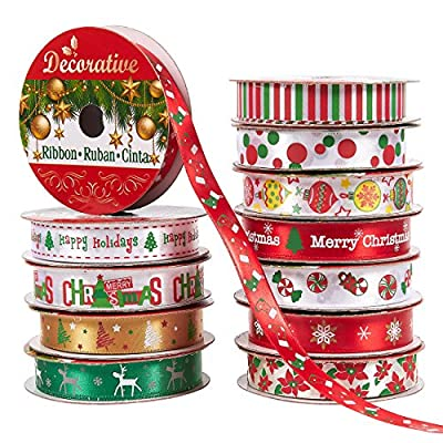 Pack of 12 Print Ribbons - Christmas Ribbons for Craft Projects, DIY, Decoration, Gift Wrap, 0.6 Inches x 5 Yards, Assorted Christmas Themes
