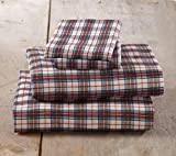 Stratton Collection Extra Soft Printed 100% Cotton Flannel Sheet Set. Warm, Cozy, Lightweight, Luxury Winter Bed Sheets. By Home Fashion Designs Brand. (King, Green & Red Plaid)