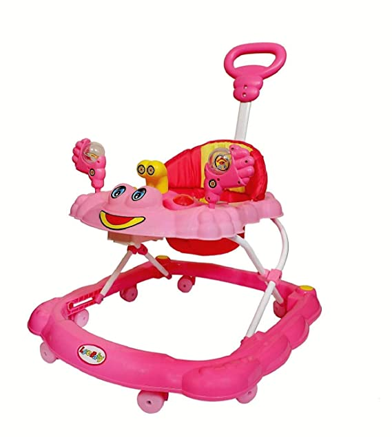Joyride Musical Baby Walker with Adjustable Height and Push Handle Bar (Pink)