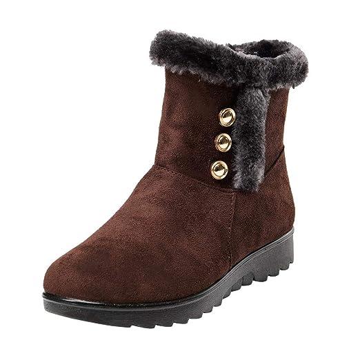 ❤ Botas de Nieve de Felpa para Mujer, Calzado de Piel Corta para Mujer de Invierno Tobillo Calzado Corto Absolute: Amazon.es: Ropa y accesorios