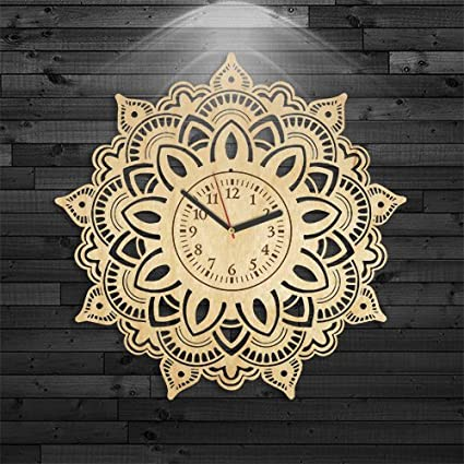 VinylCity Ornament Gift For Girl, Mandala Wooden Clock, Mandala Wood Clock, Mandala Birthday