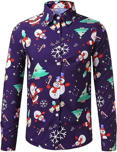 Hombre Camisas Navidad, Manga Larga Casual Navidad Impresión Otoño e Invierno Nuevo Camisa de Moda Slim Fit Long Sleeve Blusa Tops Camiseta de Manga Larga Botón Shirt Diseño de Personalidad vpass: Amazon.es: