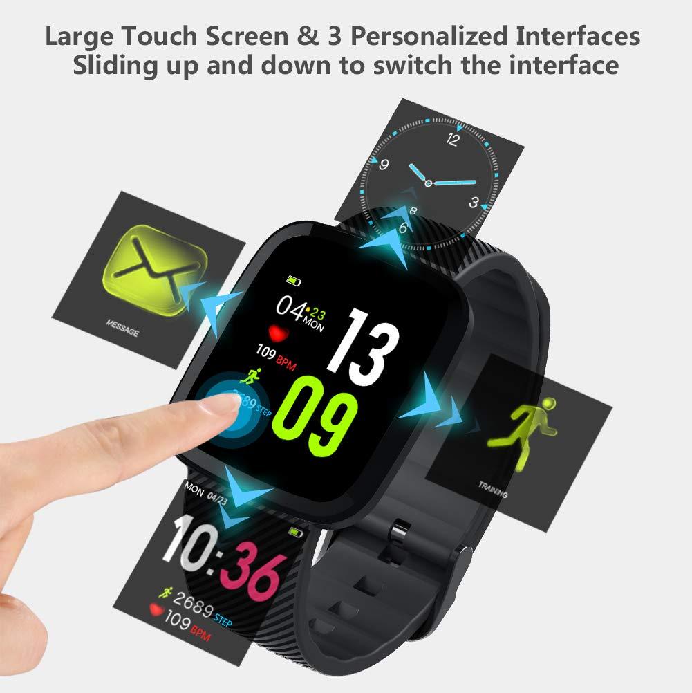 Reloj Inteligente Pulsera de Actividad Inteligente, Toque Completo Pantalla Color Smartwatch Reloj de Fitness con Pulsómetro, Múltiples Modos de ...