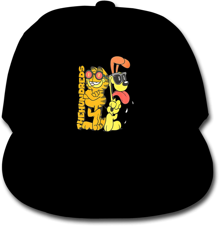 Garfield Children's Cotton Baseball Caps, Adjustable Hip-Hop Cap, Solid Color Baseball Cap Black