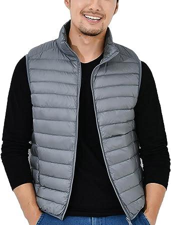 chaqueta plumas gris hombre con bolsa para guardar