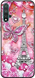 For Huawei Nova 5 Case Pink Butterflies & Effiel Tower